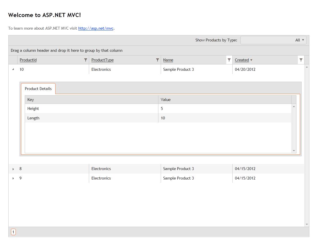 Telerik's HTML5 Kendo UI Grid with Server Side Paging