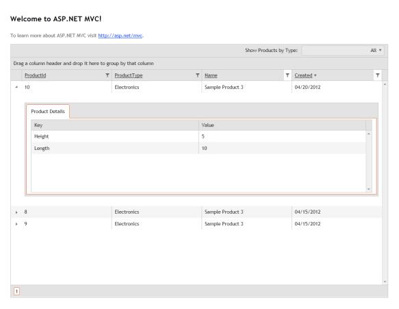 Telerik's HTML5 Kendo UI Grid with Server Side Paging, Sorting