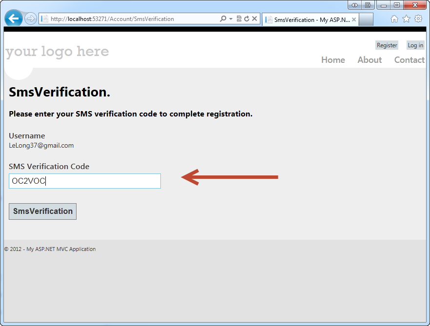 Two-Factor Authentication ASP NET MVC 4 Registration with