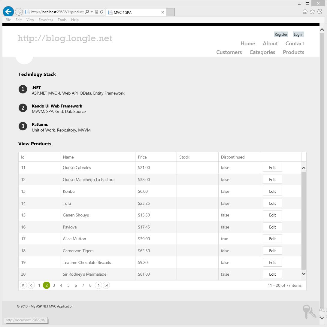 MVC 4, Web API, OData, Entity Framework, Kendo UI, Grid