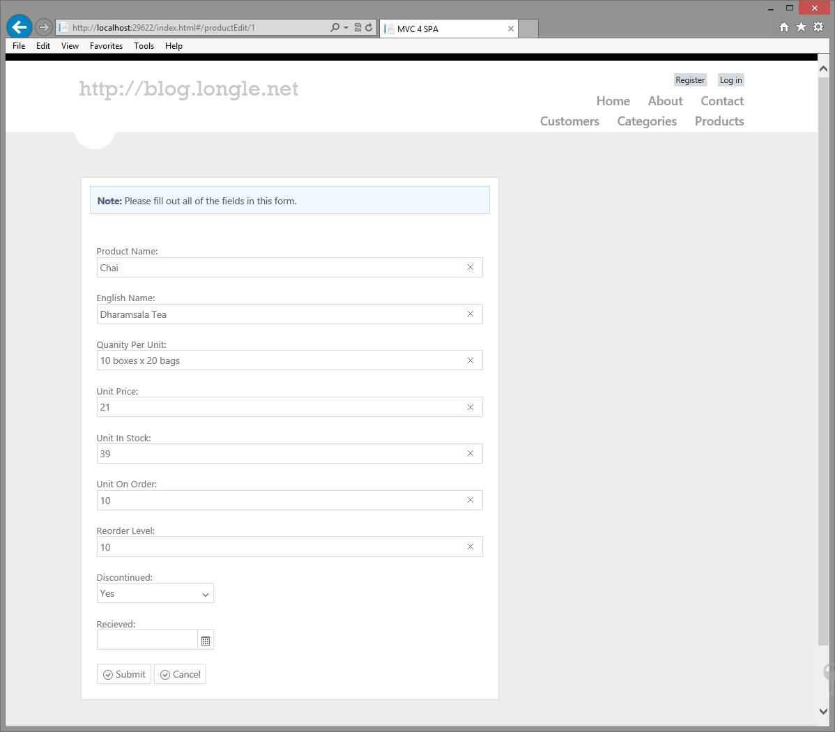 MVC 4, Web API, OData, Entity Framework, Kendo UI, Binding